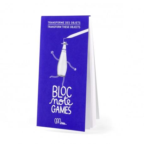 Transforme des objets  BLOC NOTE GAMES